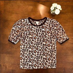 EUC A New Day Leopard Print Scoop Neck Shirt